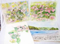 Two unframed watercolour studies of flowers - sold with other unfinished works