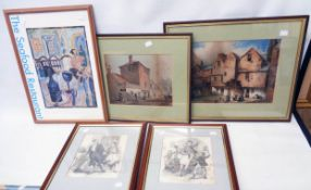 Two framed coloured prints, depicting buildings and figures, a restaurant poster and two foxed