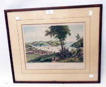 A framed antique coloured print, depicting Dartmouth castle and harbour - glass a/f