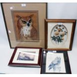 Wyn Brocklebank: a framed pastel study of an owl - sold with an owl print and two box framed 3D