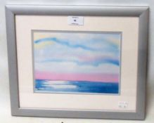A framed coloured print, depicting a stylised sea scape
