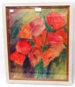 Catherine Redmayne: a framed floral study watercolour, entitled Orientals - label verso