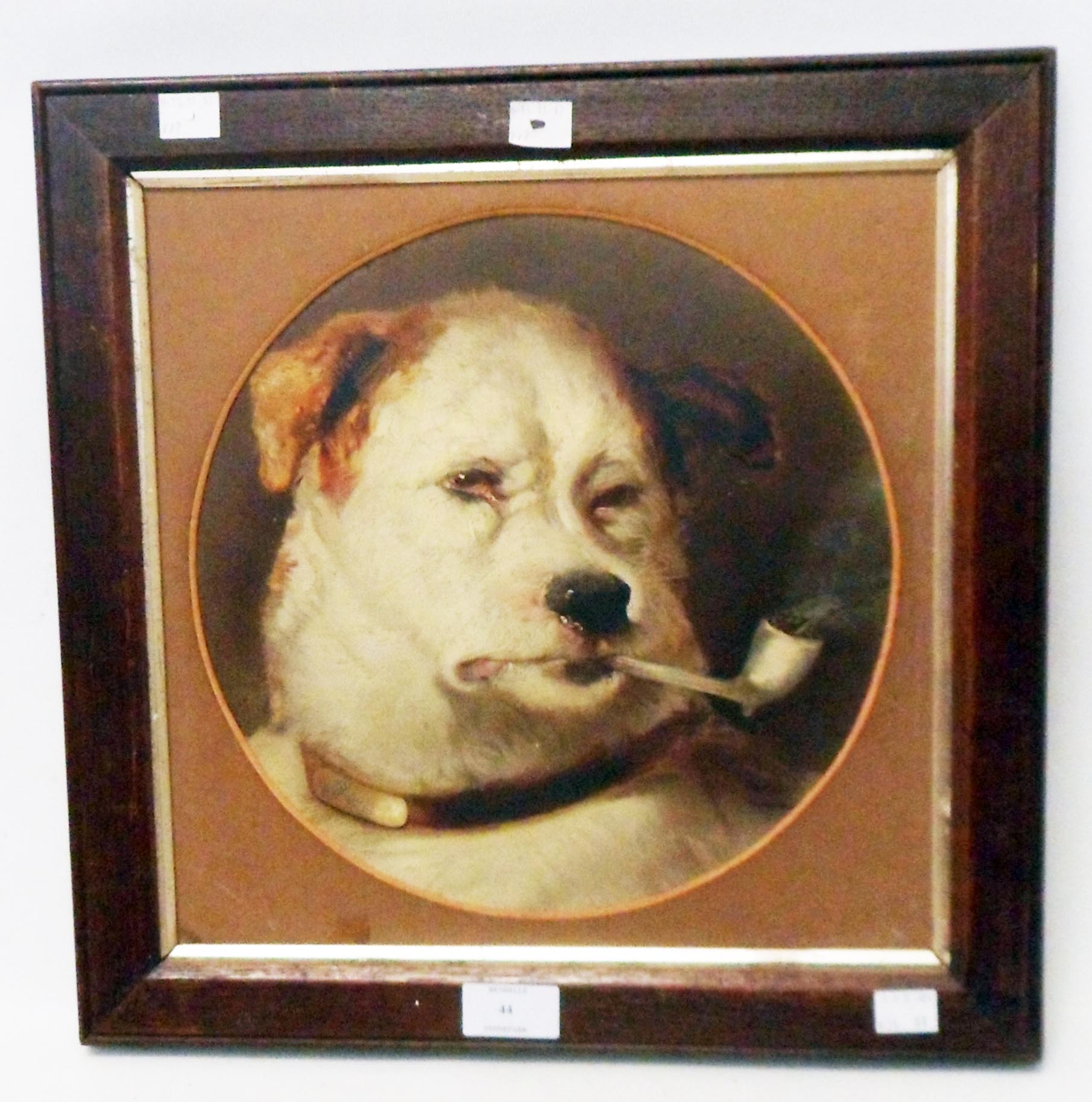 An oak framed coloured print, depicting a dog smoking a pipe