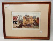 Linda Jane Smith: a framed coloured print, depicting cats around a quayside