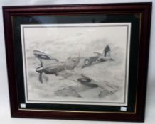 A framed monochrome print from a pencil drawing, depicting a Spitfire in flight