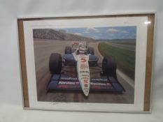 A framed Sports Seen coloured print signed by Nigel Mansell and entitled Double Take