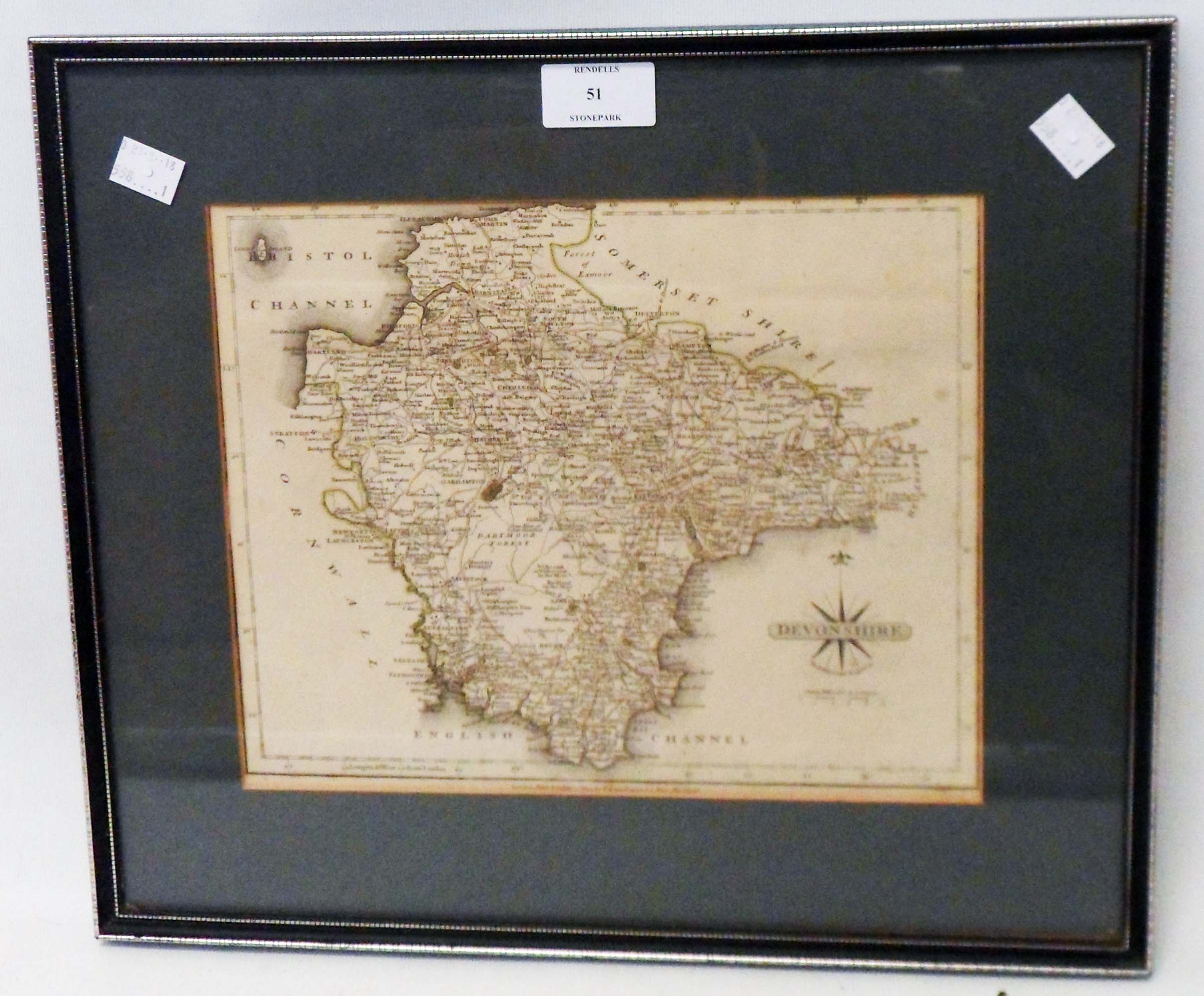John Cary: a framed 1793 map print of Devonshire with hand coloured green border lines