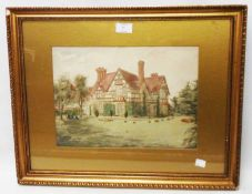 A gilt framed and slipped watercolour, depicting a Tudor style country house