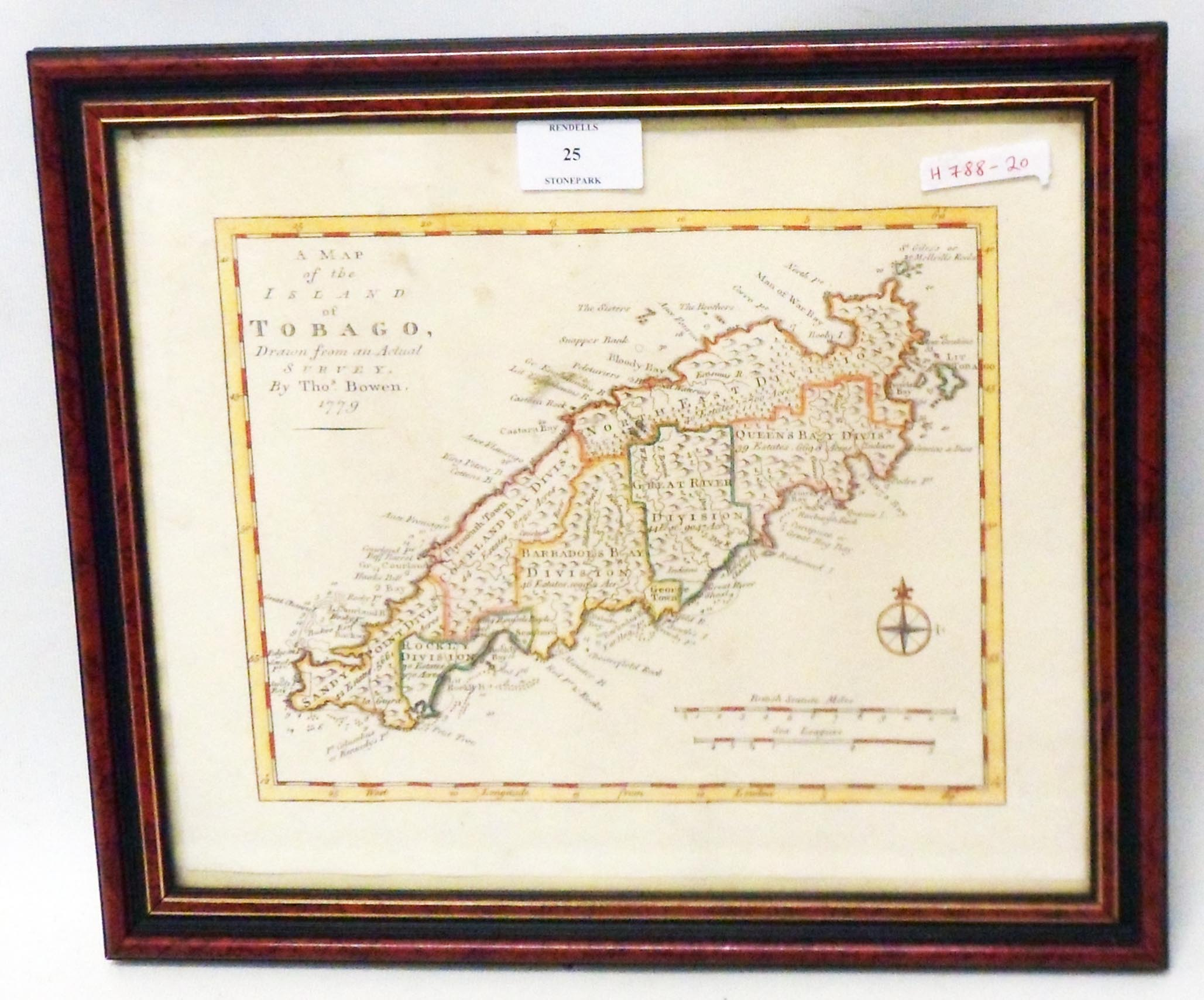 A modern framed reproduction map print of the island of Tobago, after T. Bowen