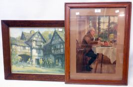 A framed Pears print - sold with another with figures in a Tudor courtyard