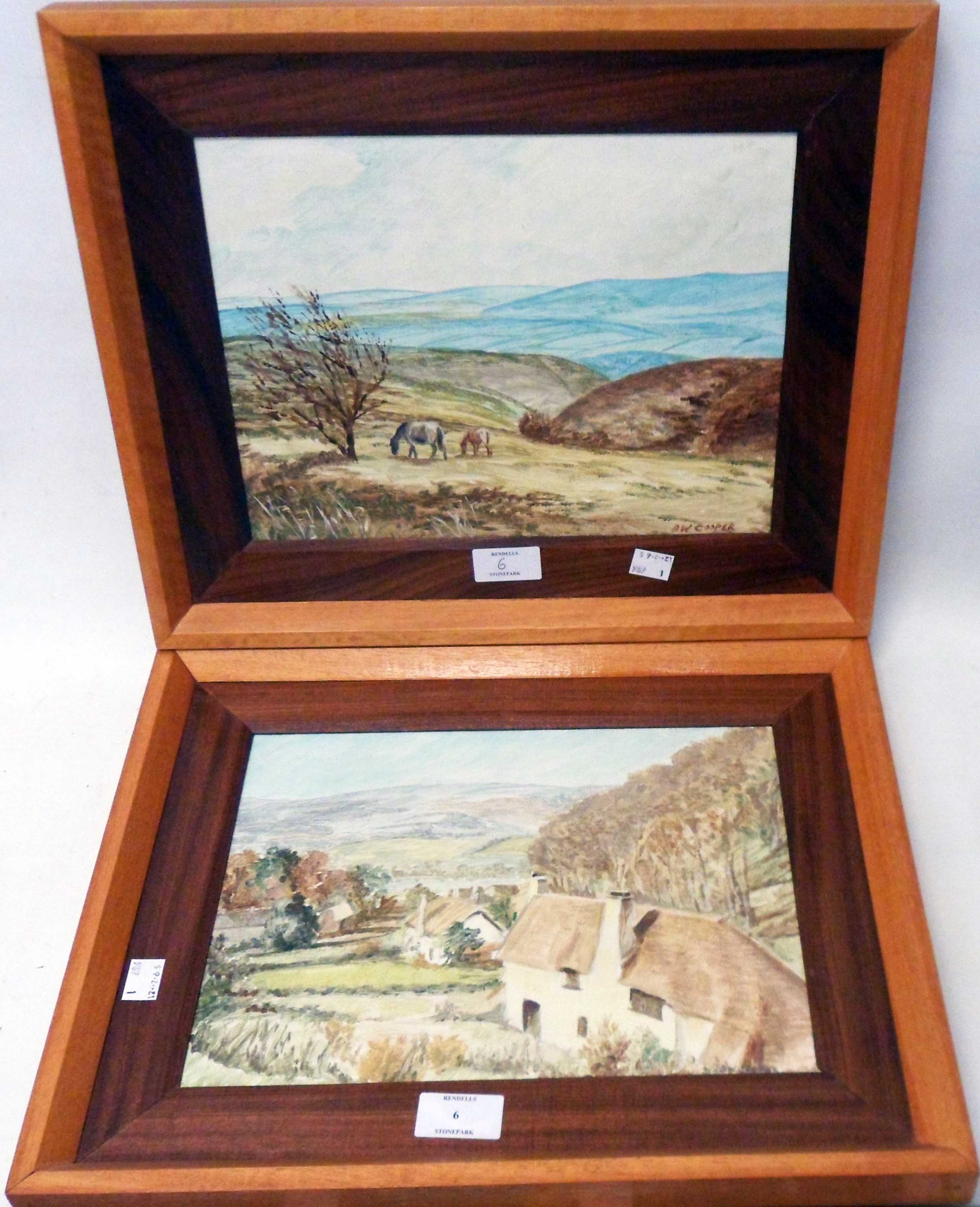 B. W. Cooper: a pair of polished wood framed oils on board, one entitled Exmoor Ponies, the other