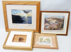 Three framed modern local view prints - signed - sold with a boxed framed display of chillies