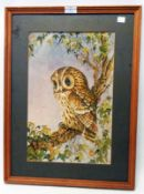 A framed mixed media drawing study of a perching owl - signed with monogram