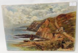 B. W. Barclay: an unframed oil on canvas, depicting figures on a coastal path - signed and dated