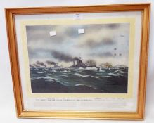 A framed print, entitled The Great British Naval Victory in the North Sea