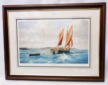 †John Chancellor: a framed limited edition print entitled Coasting Shamrock in Start Bay - bearing
