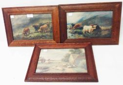 Three oak framed small format coloured prints, depicting Highland cattle and sheep