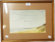 Derek Radden: A gilt framed and slipped watercolour entitled Norfolk Coast - signed and with