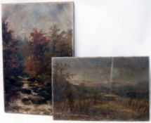 Two unframed oils on canvas, one depicting a harvest field, the other a fisherman in a woodland