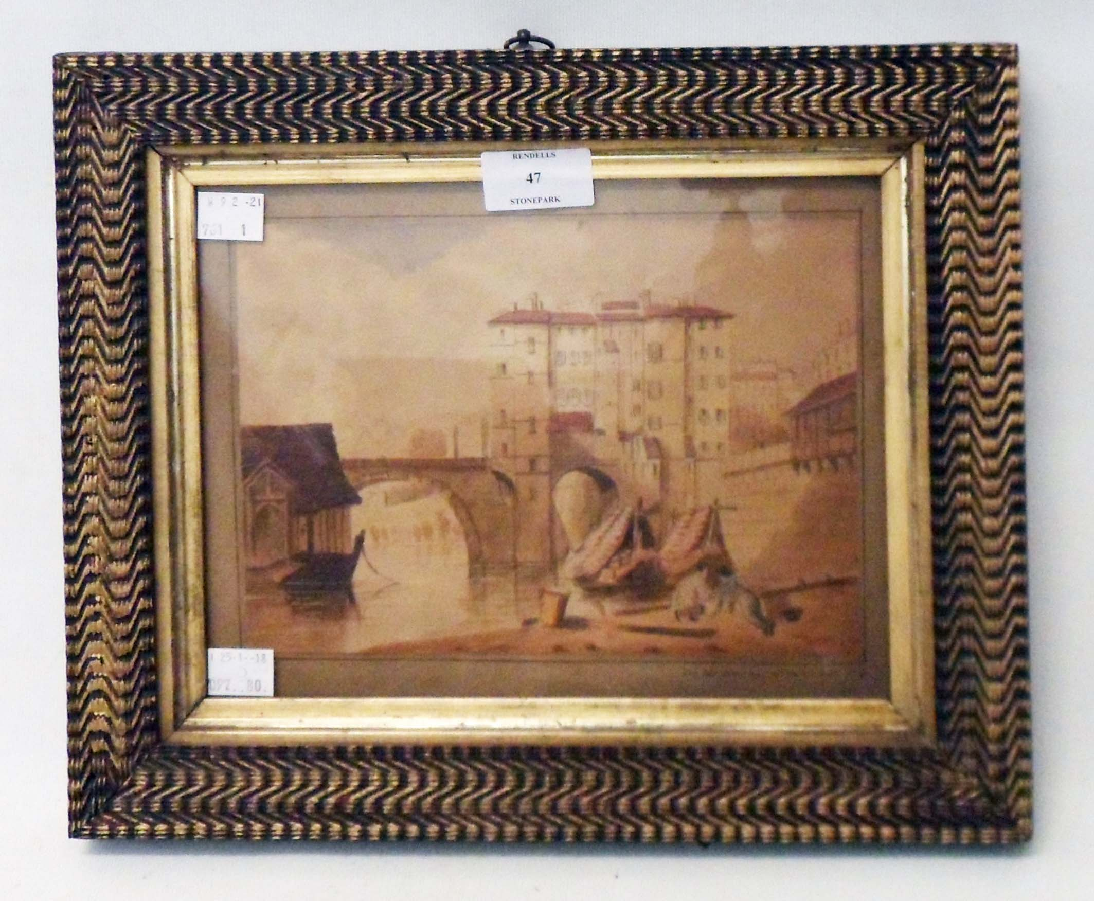 An ornate gilt framed 19th Century French scene watercolour, titled in English On the Soane (