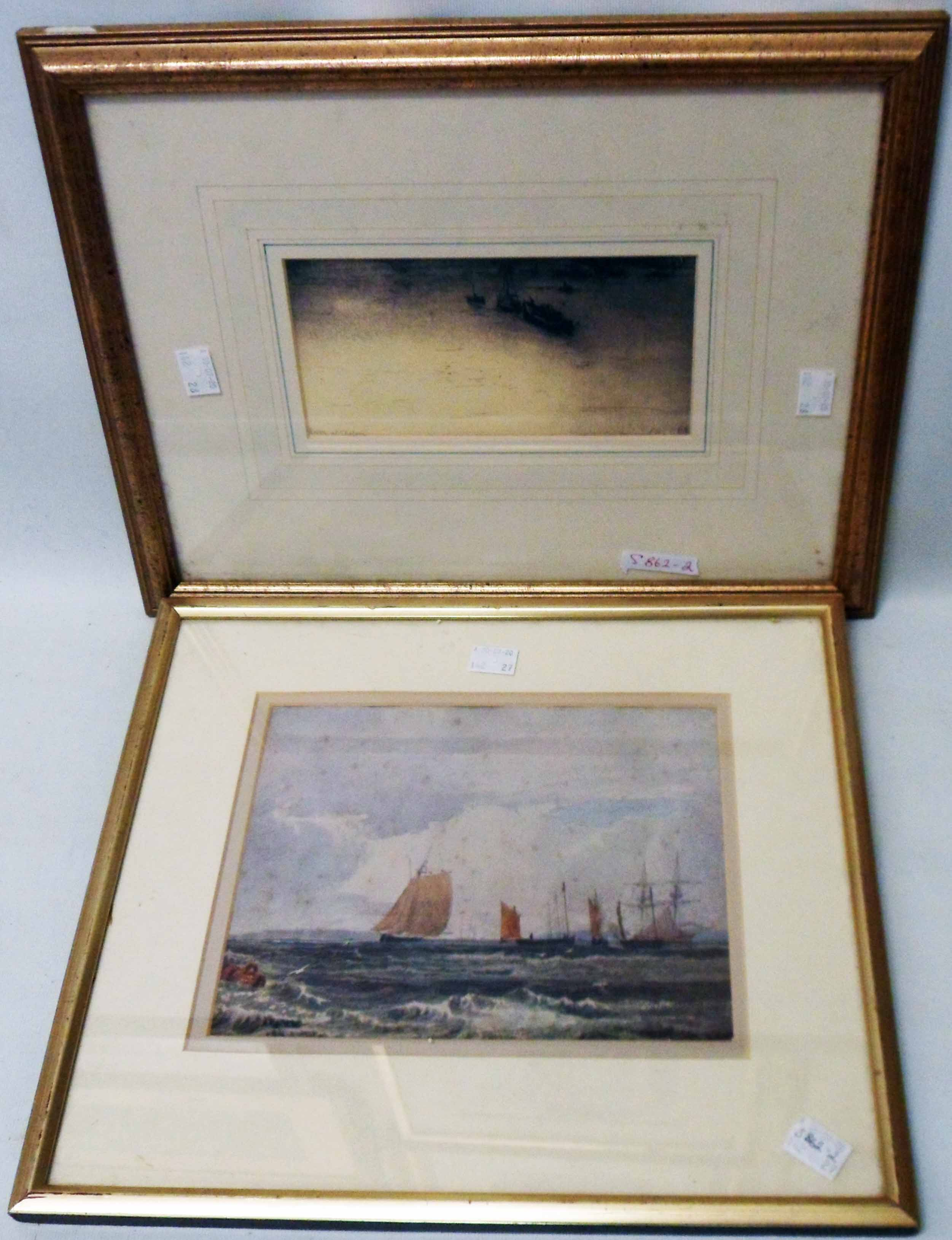 Two gilt framed coloured prints, one depicting coastal shipping (foxed), the other The Thames