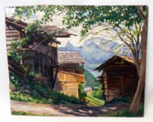 An unframed oil on board, depicting a view in Valais, Switzerland