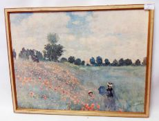 After Claude Monet: a framed print on canvas, depicting figures in a poppy field - slight canvas
