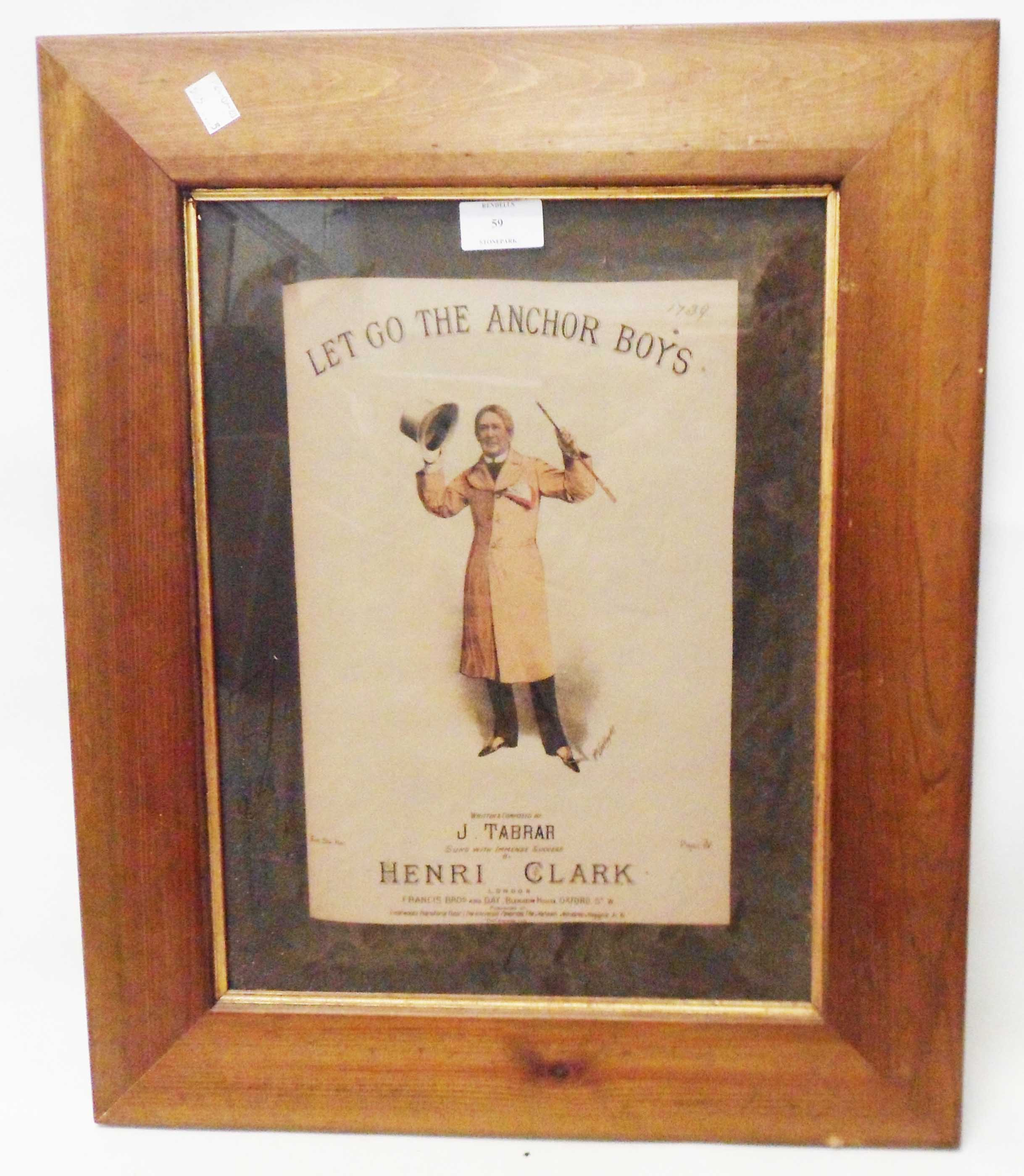 A framed songsheet cover for Let Go the Anchor Boys sung by Henri Clark