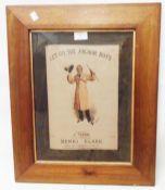 A framed songsheet cover for Let Go the Anchor Boys sung by Henri Clark