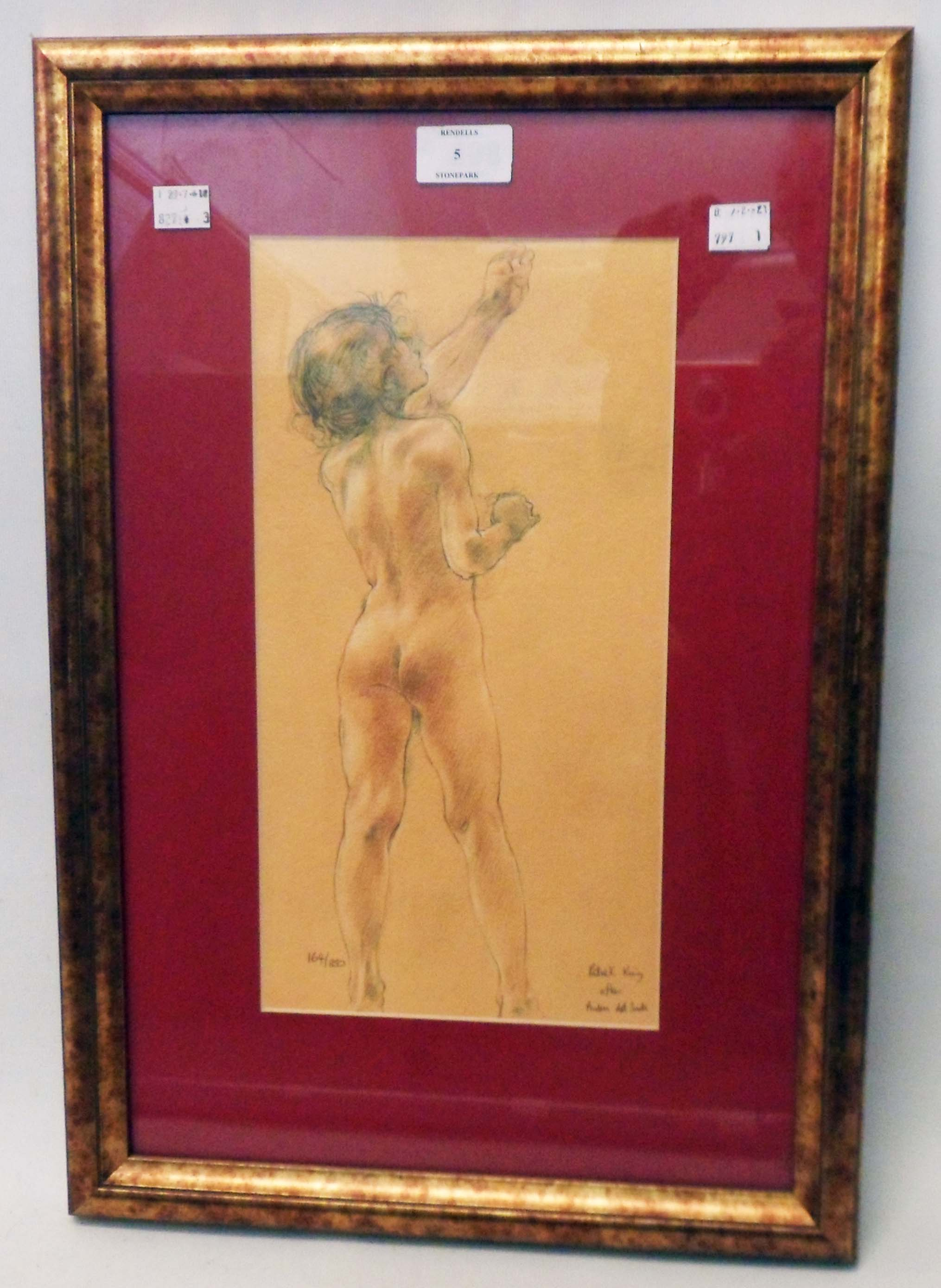 Patrick King: a gilt framed limited edition coloured print, nude study - 164/850