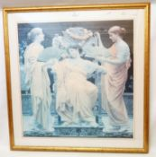 A large gilt framed faded coloured print, depicting three classical female figures