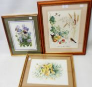 Marjorie Blamey: a framed signed coloured print, entitled Autumn - sold with two floral study