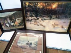 Three large framed coloured prints, depicting sheep in a winter landscape, a plowing team and