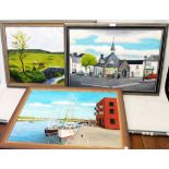 Michael La Touche: three framed mixed media paintings on board, including The Square, Chagford