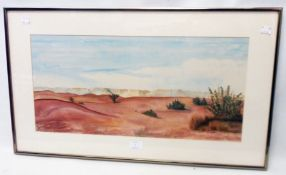 J. Bennetti-Longhini: a framed silk painting, depicting a Middle Eastern desert scene - signed and