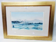 HRH The Prince of Wales: a gilt framed faded limited edition coloured print, entitled View in