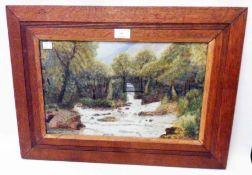 An oak framed watercolour, depicting a river landscape