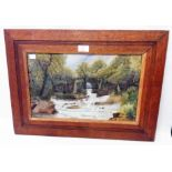 An oak framed watercolour, depicting a river landscape