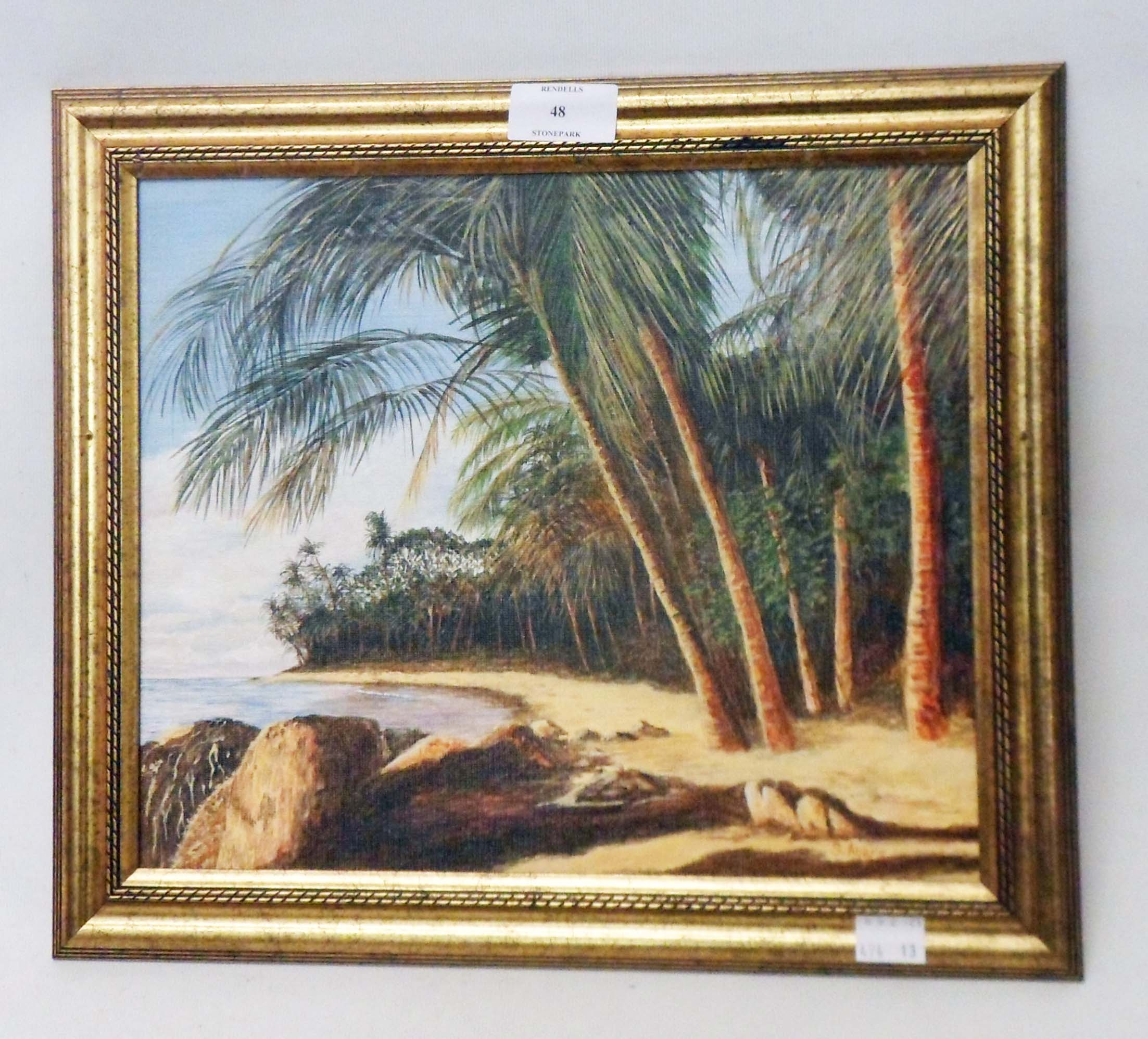 S. Ayers: a framed oil on board, entitled Barbados
