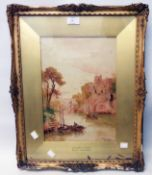 Stuart Lloyd: a damaged gilt jesso framed watercolour, entitled Chepstowe Castle - signed and with