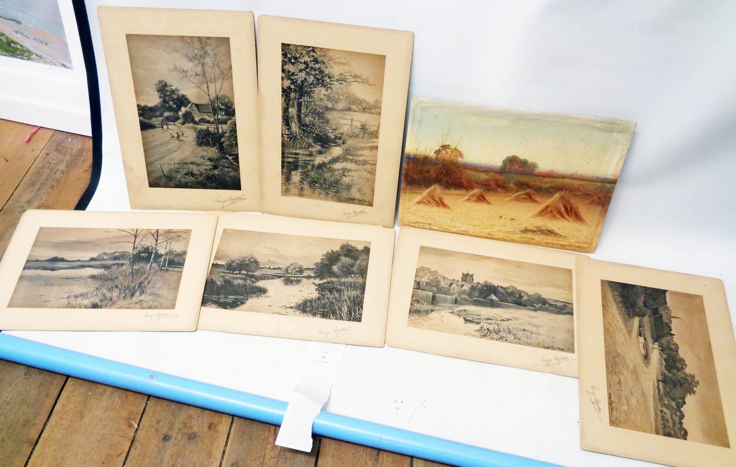 George Oyston: an unframed watercolour, depicting a harvest field - signed and dated 1913 - sold