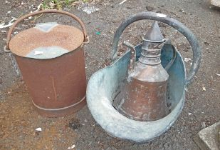 An old steel milk can with brass fittings - sold with coffee pot and coal helmet