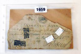 A clipped early 19th Century Coventry Bank note for Bird, Bird & Co. with Paid Five Shillings Oct