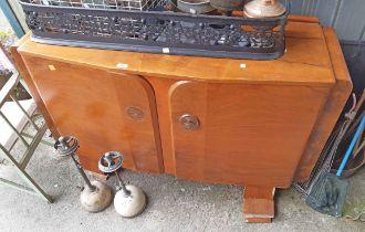 A 1.35m Art Deco design walnut veneered sideboard - a/f