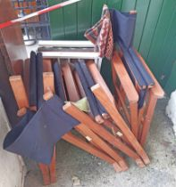 Five director's style folding chairs - various condition
