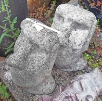 A pair of Easter Island heads
