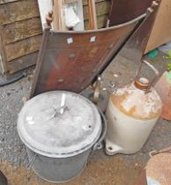A galvanised steel lidded milk straining bucket - sold with a cider flagon, firescreen and kettle