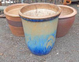 Three garden planters comprising two salt glazed stoneware and one glazed example