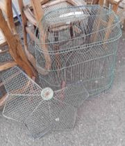 An early Victorian period brass wire fire guard - sold with three similar later examples