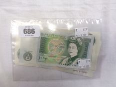 Five series C £1 banknotes four being BW61 consecutive numbers and a series D similar - all J.B.